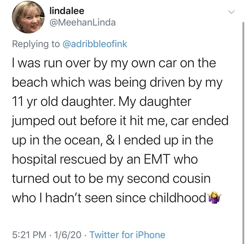 Text - lindalee @MeehanLinda Replying to @adribbleofink I was run over by my own car on the beach which was being driven by my 11 yr old daughter. My daughter jumped out before it hit me, car ended up in the ocean, & I ended up in the hospital rescued by an EMT who turned out to be my second cousin who I hadn't seen since childhood 5:21 PM · 1/6/20 · Twitter for iPhone