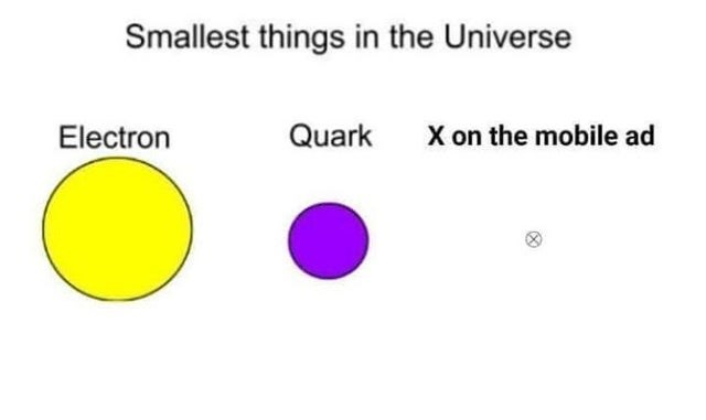 Text - Smallest things in the Universe X on the mobile ad Quark Electron
