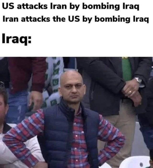 Photo caption - US attacks Iran by bombing Iraq Iran attacks the US by bombing Iraq Iraq: