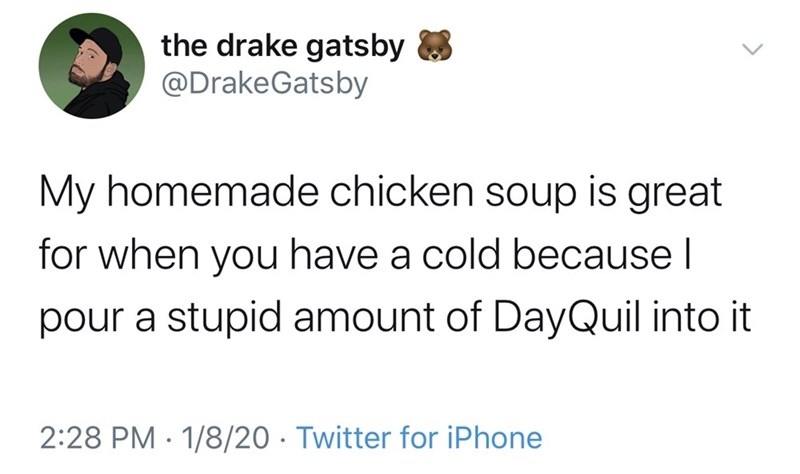 Text - the drake gatsby 8 @DrakeGatsby My homemade chicken soup is great for when you have a cold because I pour a stupid amount of DayQuil into it 2:28 PM · 1/8/20 · Twitter for iPhone