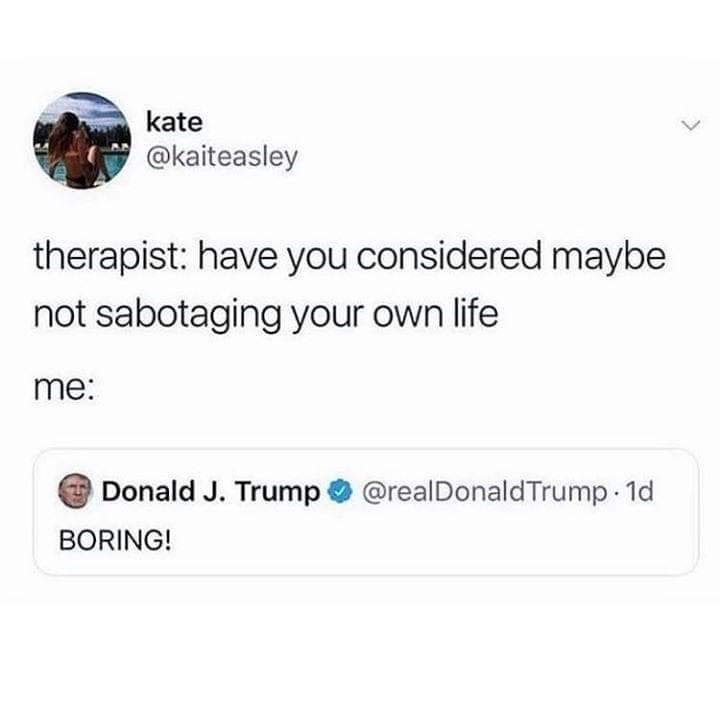 Text - kate @kaiteasley therapist: have you considered maybe not sabotaging your own life me: Donald J. Trump @realDonaldTrump 1d BORING!