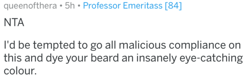 Text - queenofthera • 5h • Professor Emeritass [84] NTA I'd be tempted to go all malicious compliance on this and dye your beard an insanely eye-catching colour.