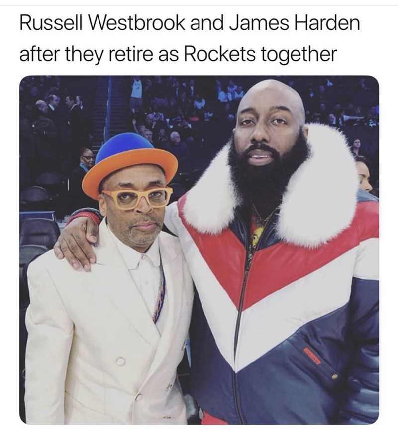 Facial hair - Russell Westbrook and James Harden after they retire as Rockets together