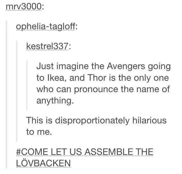 Text - mrv3000: ophelia-tagloff: kestrel337: Just imagine the Avengers going to Ikea, and Thor is the only one who can pronounce the name of anything. This is disproportionately hilarious to me. #COME LET US ASSEMBLE THE LÖVBACKEN