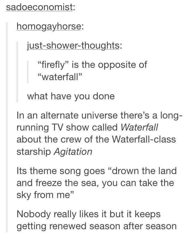 """Text - sadoeconomist: homogayhorse: just-shower-thoughts: """"firefly"""" is the opposite of """"waterfall"""" what have you done In an alternate universe there's a long- running TV show called Waterfall about the crew of the Waterfall-class starship Agitation Its theme song goes """"drown the land and freeze the sea, you can take the sky from me"""" Nobody really likes it but it keeps getting renewed season after season"""