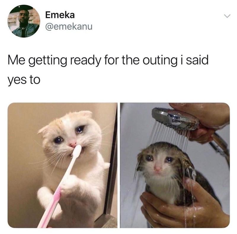 Cat - Emeka @emekanu Me getting ready for the outing i said yes to