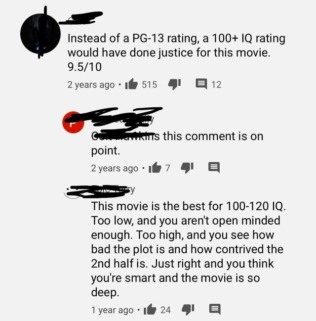 Text - Instead of a PG-13 rating, a 100+ IQ rating would have done justice for this movie. 9.5/10 1 2 years ago • It 515 12 ns this comment is on point. 2 years ago This movie is the best for 100-120 IQ. Too low, and you aren't open minded enough. Too high, and you see how bad the plot is and how contrived the 2nd half is. Just right and you think you're smart and the movie is so deep. 24 1 year ago