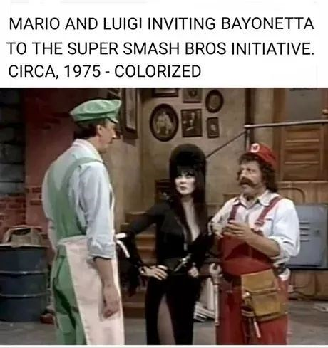 Photo caption - MARIO AND LUIGI INVITING BAYONETTA TO THE SUPER SMASH BROS INITIATIVE. CIRCA, 1975 - COLORIZED