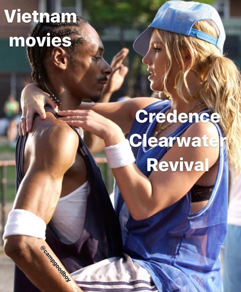 snoop dogg and britney spears. funny meme about how creedence clearwater revival is always used in vietnam war movies.