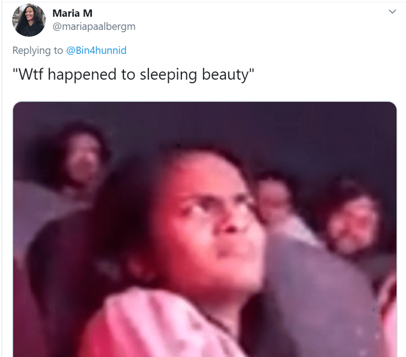 "Text - Maria M @mariapaalbergm Replying to @Bin4hunnid ""Wtf happened to sleeping beauty"""