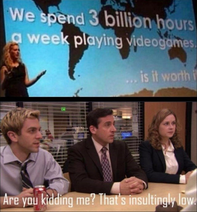 Photo caption - We spend 3 billion hours a week playing videogames. is it worth i Are you kidding me? That's insultingly low.