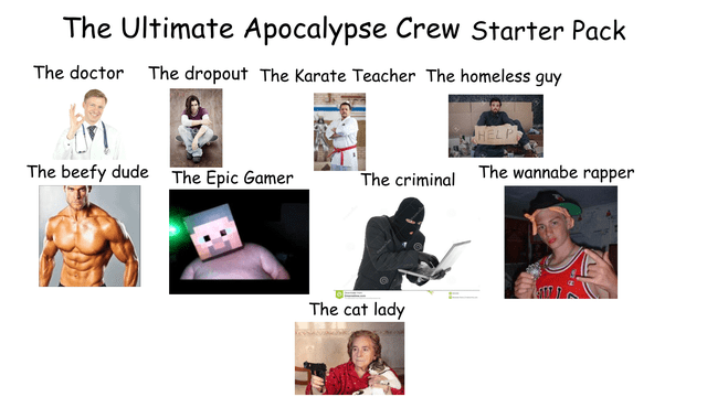 Muscle - The Ultimate Apocalypse Crew Starter Pack The doctor The dropout The Karate Teacher The homeless guy The beefy dude The Epic Gamer The wannabe rapper The criminal The cat lady