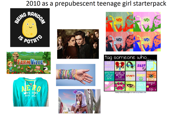 Text - 2010 as a prepubescent teenage girl starterpack RANDO BEING S POTHIO WOR tag someone who.. FARMVILLE AWAY t kioNS Ya BÉTTER SMART apoy! O BOMB changed can't your ihout Cife x animal Lover NYC 1987 Ash etie Funy smeagesamen yTmes.com