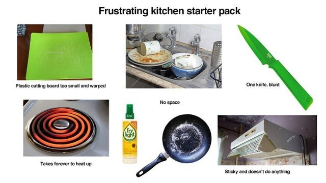 Product - Frustrating kitchen starter pack Plastic cutting board too small and warped One knife, blunt No space Ica for ight alamy Takes forever to heat up Sticky and doesn't do anything