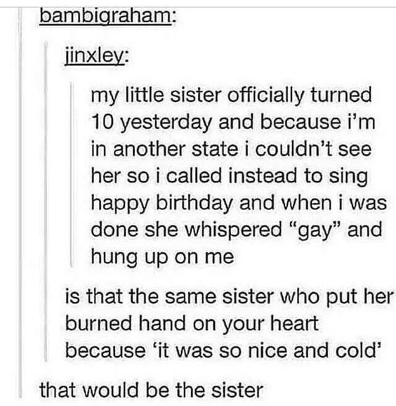 """Text - bambigraham: jinxley: my little sister officially turned 10 yesterday and because i'm in another state i couldn't see her so i called instead to sing happy birthday and when i was done she whispered """"gay"""" and hung up on me is that the same sister who put her burned hand on your heart because 'it was so nice and cold' that would be the sister"""