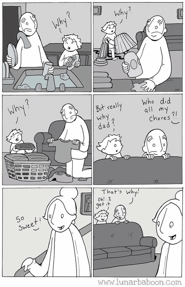 "Cartoon - Why? Why ? Why? But really why dad ? who did all my chores ! That's why: O! I it. So Sweet!"" www.lunarbaboon.com"