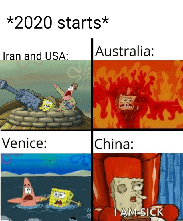 Cartoon - *2020 starts* Australia: Iran and USA: China: Venice: IAM SICK