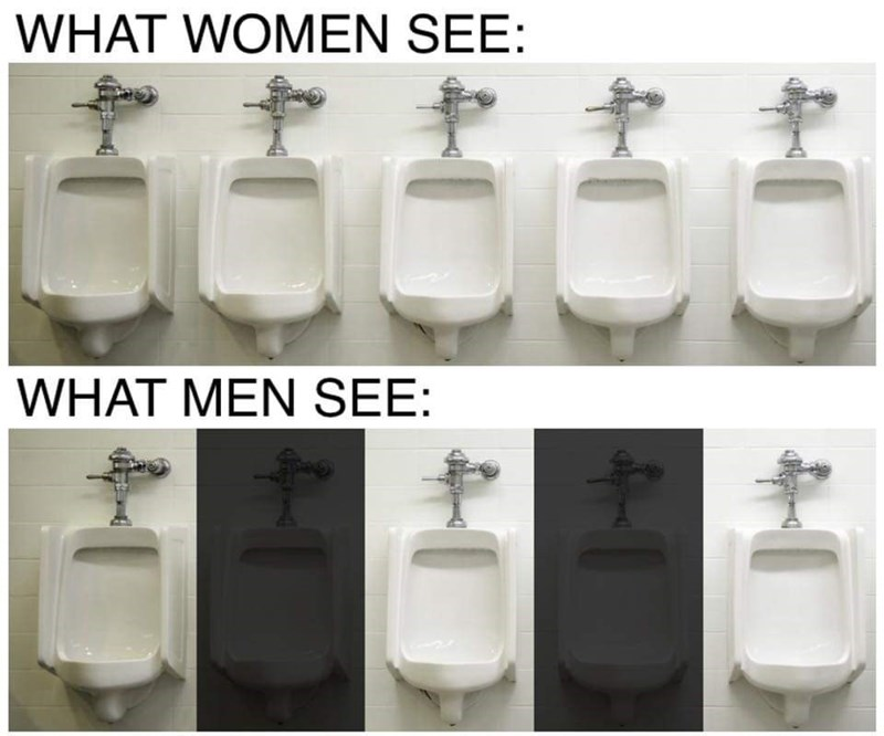 Urinal - WHAT WOMEN SEE: 5వంరం WHAT MEN SEE: 4-1