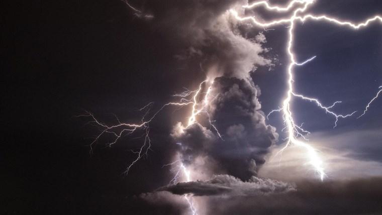 blue black clouds sky lightning taal volcano