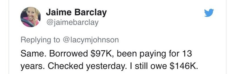 Text - Jaime Barclay @jaimebarclay Replying to @lacymjohnson Same. Borrowed $97K, been paying for 13 years. Checked yesterday. I sill owe $146K.