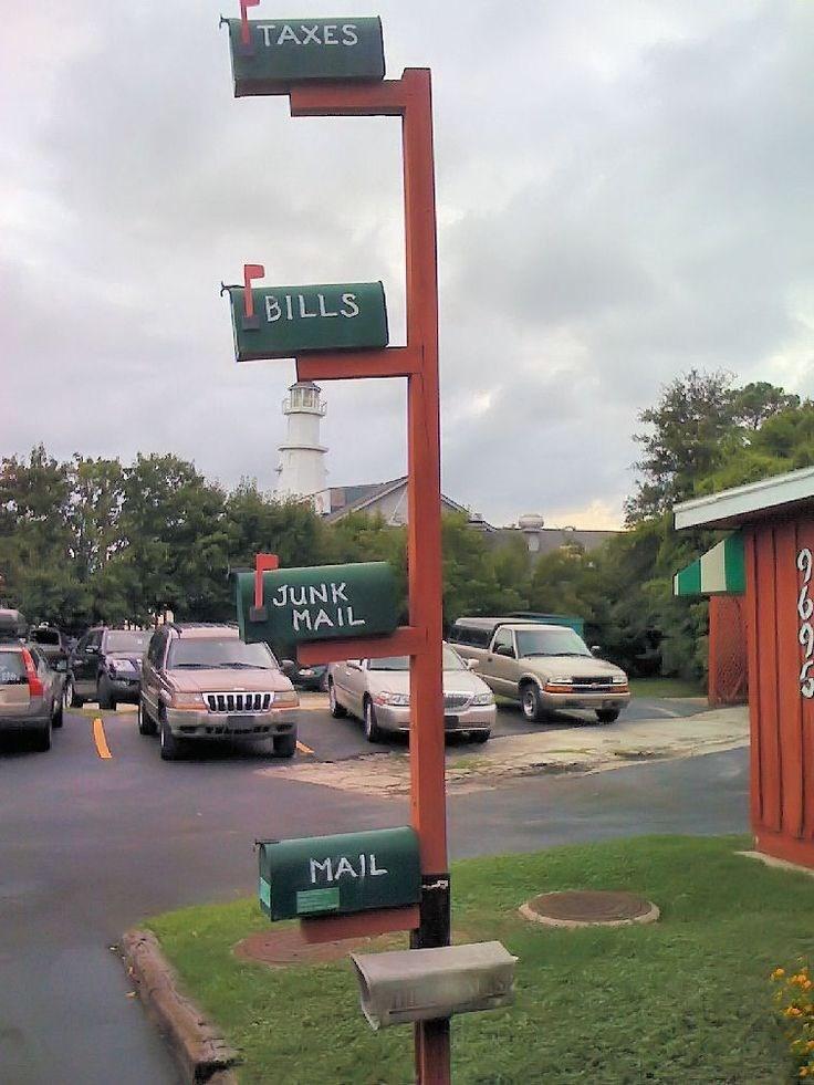 Street sign - TAXES BILLS JUNK MAIL MAIL