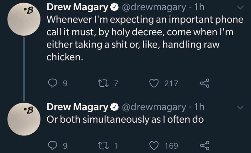 Text - Drew Magary O @drewmagary · 1h •B Whenever l'm expecting an important phone call it must, by holy decree, come when l'm either taking a shit or, like, handling raw chicken. 27 7 217 Drew Magary O @drewmagary · 1h Or both simultaneously as I often do 9. 169