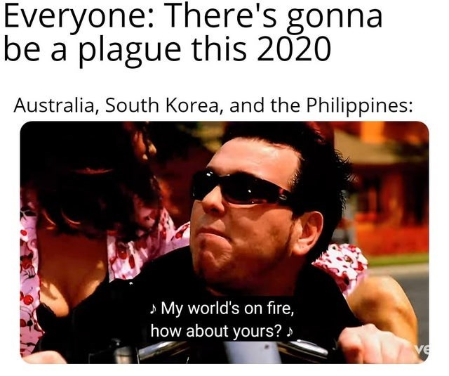 Eyewear - Everyone: There's gonna be a plague this 2020 Australia, South Korea, and the Philippines: » My world's on fire, how about yours? > ve