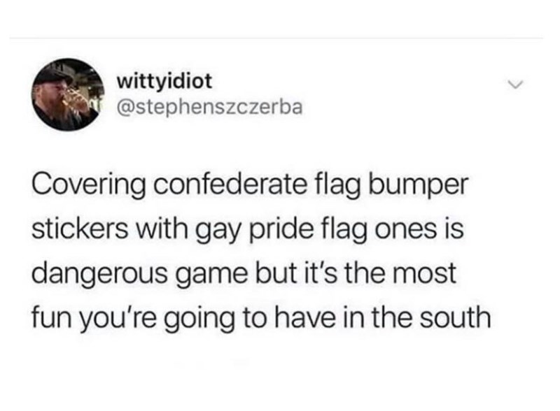 Text - wittyidiot @stephenszczerba Covering confederate flag bumper stickers with gay pride flag ones is dangerous game but it's the most fun you're going to have in the south <>