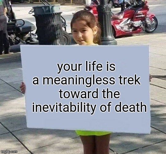 Motor vehicle - your life is a meaningless trek toward the inevitability of death imgfip.com