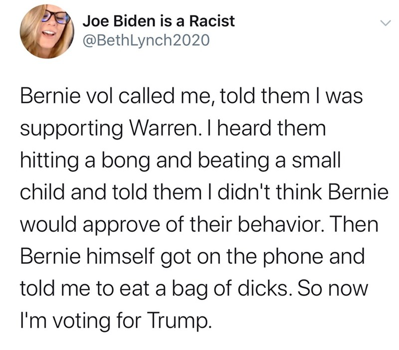 Text - Joe Biden is a Racist @BethLynch2020 Bernie vol called me, told them I was supporting Warren. I heard them hitting a bong and beating a small child and told them I didn't think Bernie would approve of their behavior. Then Bernie himself got on the phone and told me to eat a bag of dicks. So now I'm voting for Trump.