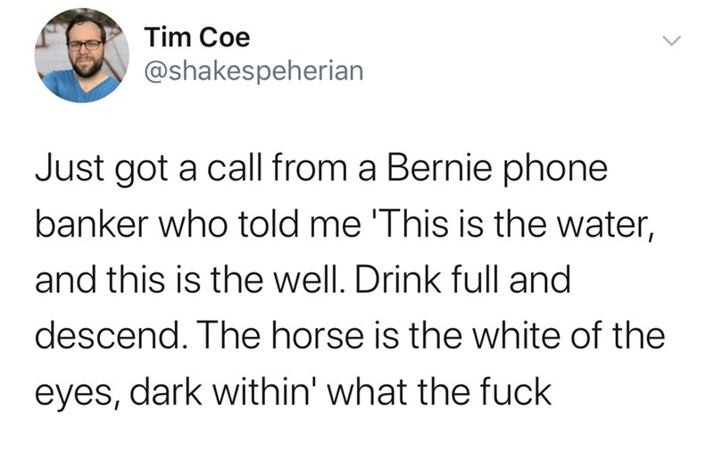 Text - Tim Coe @shakespeherian Just got a call from a Bernie phone banker who told me 'This is the water, and this is the well. Drink full and descend. The horse is the white of the dark within' what the fuck eyes,