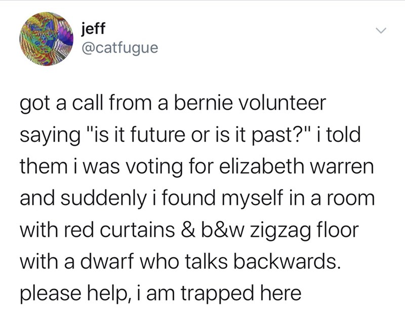 """Text - jeff @catfugue got a call from a bernie volunteer saying """"is it future or is it past?"""" i told them i was voting for elizabeth warren and suddenly i found myself in a room with red curtains & b&w zigzag floor with a dwarf who talks backwards. please help, i am trapped here"""