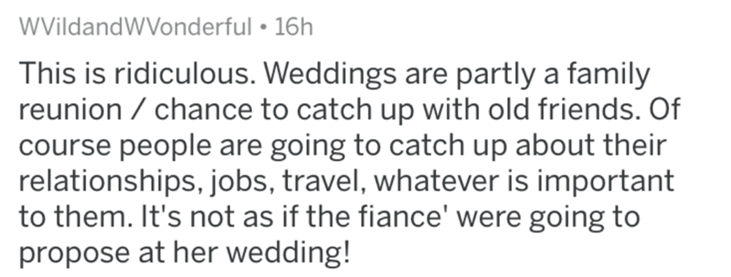Text - WVildandWVonderful • 16h This is ridiculous. Weddings are partly a family reunion / chance to catch up with old friends. Of course people are going to catch up about their relationships, jobs, travel, whatever is important to them. It's not as if the fiance' were going to propose at her wedding!