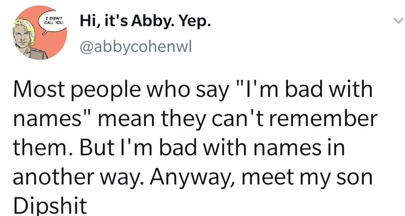"""Text - Hi, it's Abby. Yep. I DIDNT CALL YOU. @abbycohenwl Most people who say """"I'm bad with names"""" mean they can't remember them. But l'm bad with names in another way. Anyway, meet my son Dipshit"""