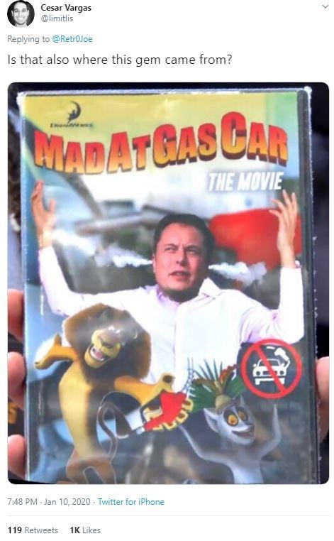 Technology - Cesar Vargas @limitlis Replying to @RetroJoe Is that also where this gem came from? WADATGAS CAR THE MOVIE 7:48 PM Jan 10, 2020 - Twitter for iPhone 119 Retweets 1K Likes ->