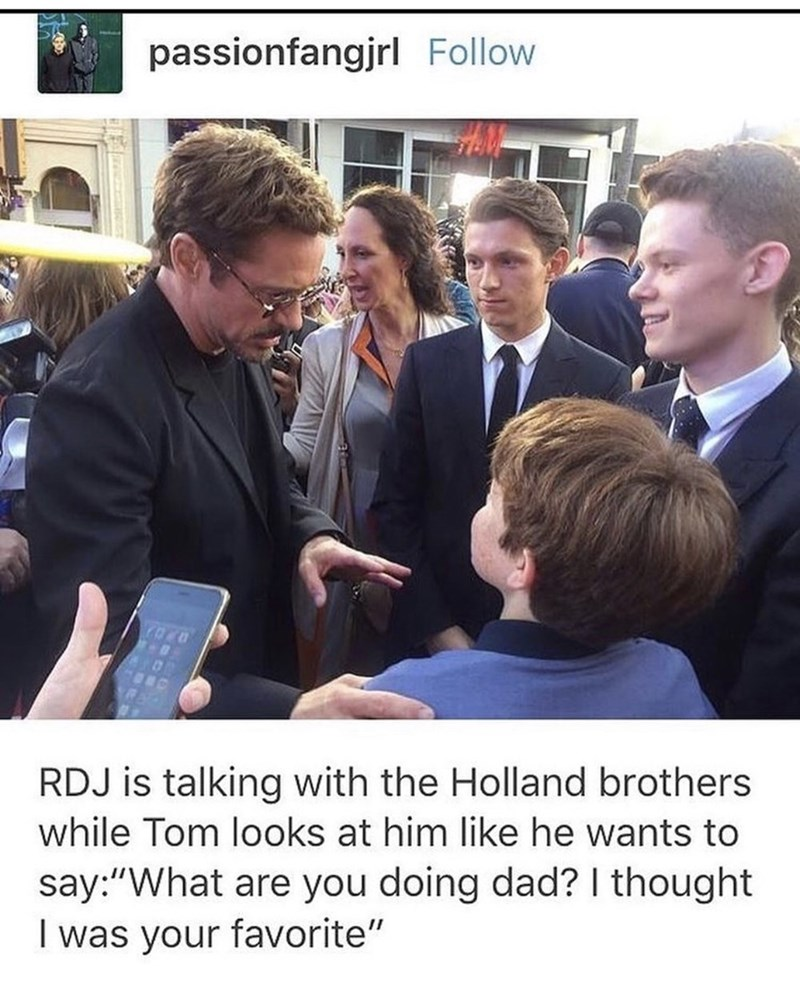 """Job - passionfangjrl Follow RDJ is talking with the Holland brothers while Tom looks at him like he wants to say:""""What are you doing dad? I thought I was your favorite"""""""
