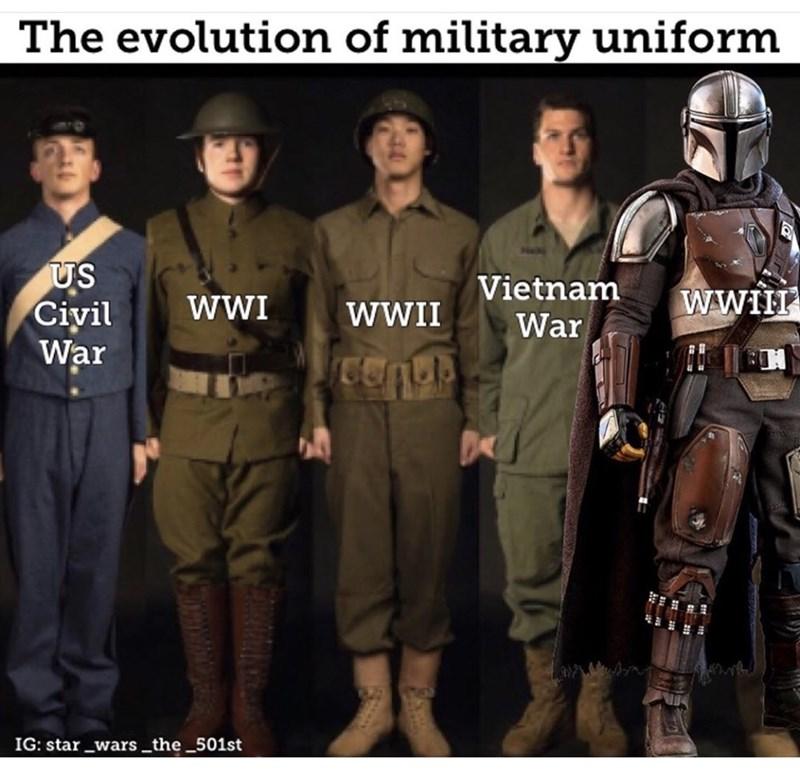 Fictional character - The evolution of military uniform US Civil War Vietnam WWIH WWII War IG: star _wars _the _501st