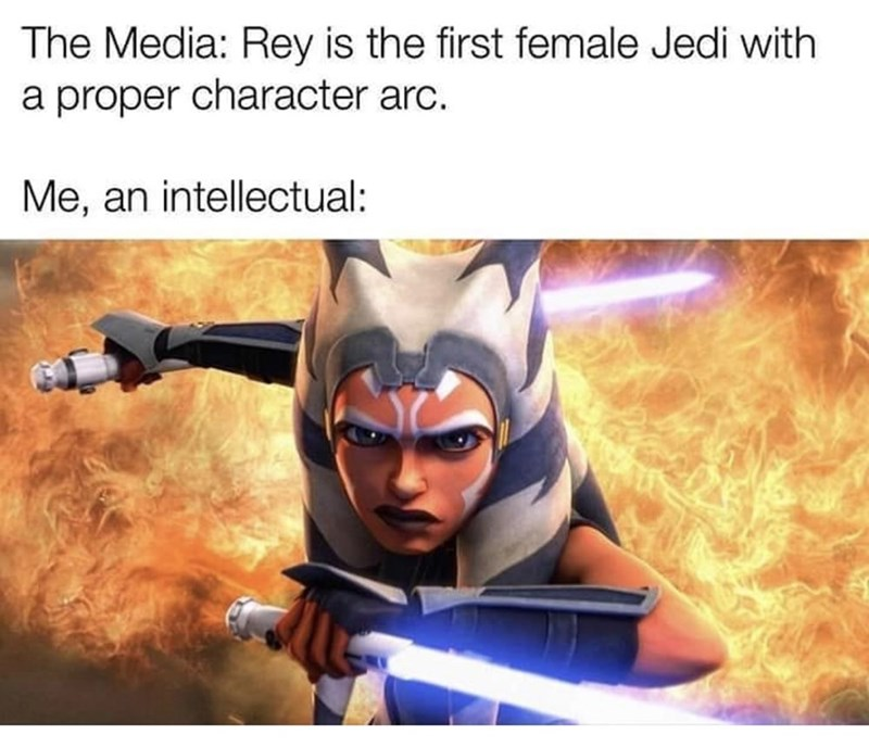 Hero - The Media: Rey is the first female Jedi with a proper character arc. Me, an intellectual: