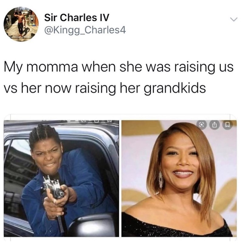 Facial expression - Sir Charles IV @Kingg_Charles4 My momma when she was raising us vs her now raising her grandkids