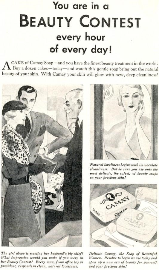 Vintage advertisement - You are in a BEAUTY CONTEST every hour of every day! CAKE of Camay Soap-and you have the finest beauty treatment in the world. A Buy a dozen cakes-today-and watch this gentle soap bring out the natural beauty of your skin. With Camay your skin will glow with new, deep cleanliness! Natural loveliness begins with immaculate cleanliness. But be sure you use only the most delicate, the safest, of beauty soaps on your precious skin! CAMAY САма» CAMAY CARAY The girl above is me