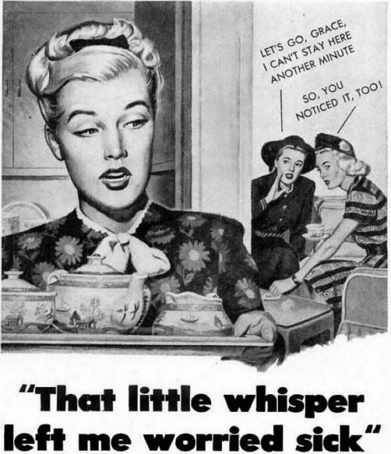"Vintage advertisement - LET'S GO, GRACE, I CAN'T STAY HERE ANOTHER MINUTE SO, YOU NOTICED IT, TO! ""That little whisper left me worried sick"""
