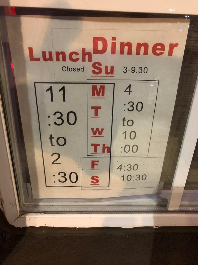 Font - LunchDinner Closed Su 3-9:30 4 11 :30 T. to :30 10 to Th:00 4:30 :30 S -10:30