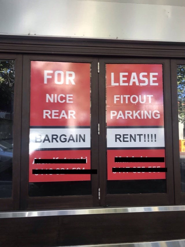 Text - FOR LEASE FITOUT PARKING NICE REAR RENT!!!! BARGAIN