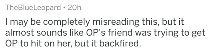 Text - TheBlueLeopard • 20h I may be completely misreading this, but it almost sounds like OP's friend was trying to get OP to hit on her, but it backfired.
