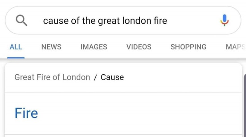 Text - cause of the great london fire MAPS ALL NEWS IMAGES SHOPPING VIDEOS Great Fire of London / Cause Fire