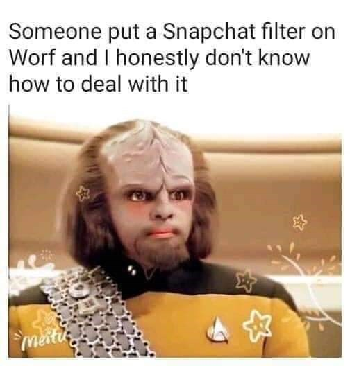 Text - Someone put a Snapchat filter on Worf and I honestly don't know how to deal with it meiti.