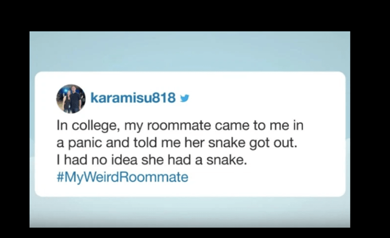 Text - karamisu818 y In college, my roommate came to me in a panic and told me her snake got out. I had no idea she had a snake. #MyWeirdRoommate