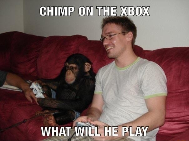 Fun - CHIMP ON THE XBOX WHAT WILL HE PLAY