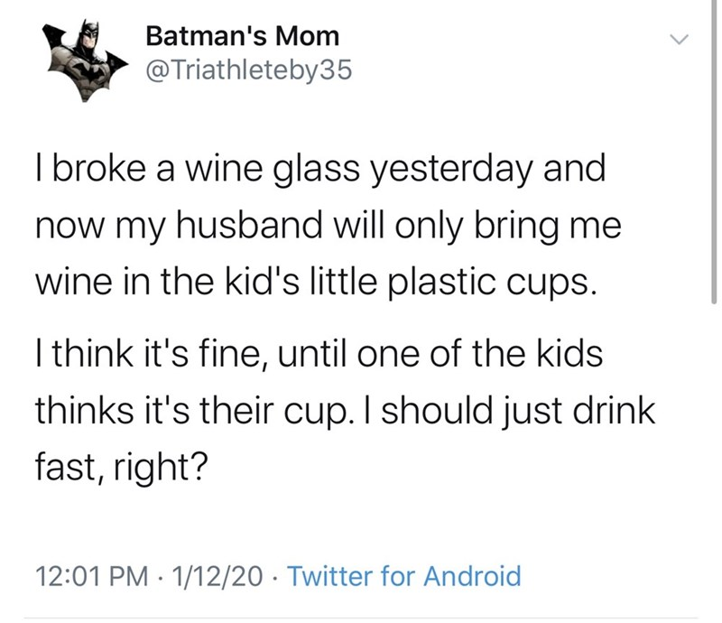 Text - Batman's Mom @Triathleteby35 I broke a wine glass yesterday and now my husband will only bring me wine in the kid's little plastic cups. I think it's fine, until one of the kids thinks it's their cup. I should just drink fast, right? 12:01 PM · 1/12/20 · Twitter for Android