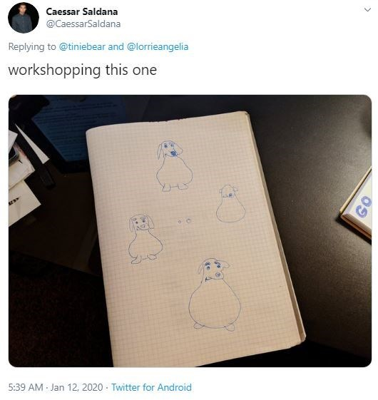 Product - Caessar Saldana @CaessarSaldana Replying to @tiniebear and @lorrieangelia workshopping this one 5:39 AM Jan 12, 2020 · Twitter for Android GO